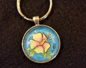 Hawaiian Hibiscus Flower Keychain