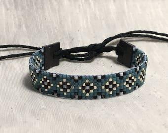 Blue and Black Seed Bead Loom Bracelet