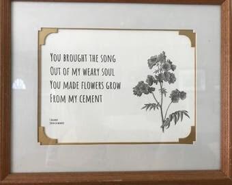 "Framed Poem ""Song"""