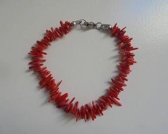Natural red coral beaded bracelet