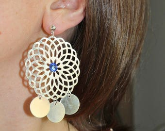 Dangle earrings blue rhinestone and Silver Rosette (drilled)