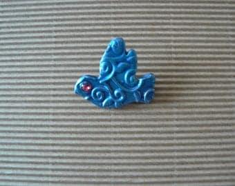 Blue polymer clay bird brooch