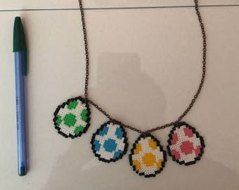 4 colors Yoshi eggs necklace