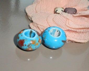 4 x ceramic beads amber mottled blue donut handmade 15 x 10