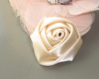 Flower 30 mm ivory satin Rosebud fabric