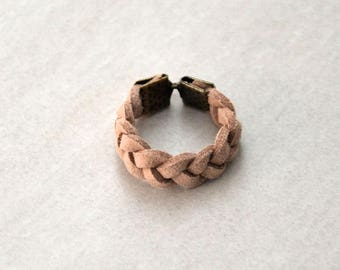 Pale pink braided suede ring