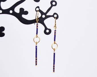 Beads purple and 24 k gold earrings