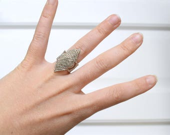 Beadwoven ring chrome Miyuki Delicas by color