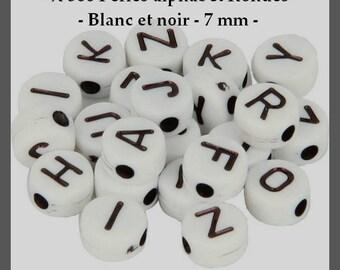 Round - white alphabet beads and black - 7 mm - approximately 300 pcs - new