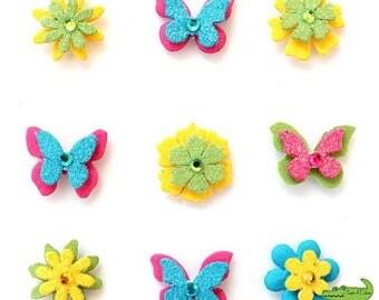 Decorative 3D butterfly, flowers, multicolored, foam, 9 pieces, scrapbooking, 2 x 2 cm.