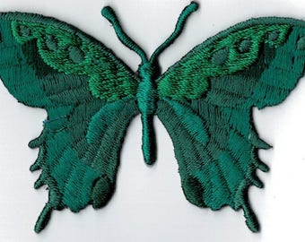 Butterfly embroidered iron or sew tree patch. Applique Patch 7.5 x 5.5 cm