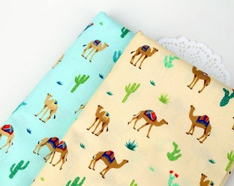 Camel 100% Cotton Fabric BY HALF YARD /animal camels desert cactus cacti plant / Blue beige / Quilting / Ykfabrics DTP452+