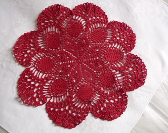 Lovely handmade lace doily Red