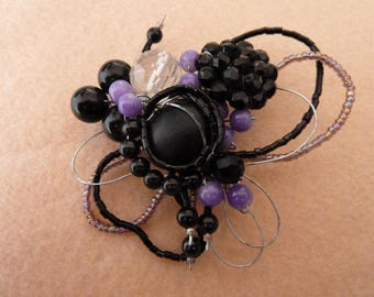 Romantic black and lilac Butterfly brooch
