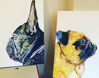 A3 Pet Portrait canvas painting