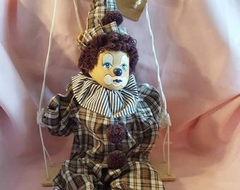 Porcelain Circus Clown Doll on Hanging Wood Swing, Vintage Collectible