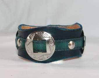 three turquoise country style bracelet conchos