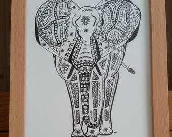 Elephant - Signed Limited Edition Fine Art A4 Giclee Print on Bamboo Paper