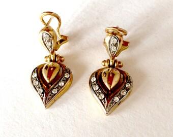 Earrings shaped gold plated heart and rhinestone