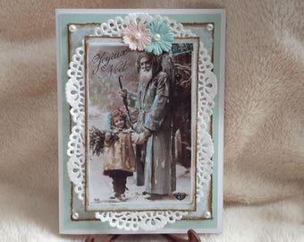 Christmas card vintage handmade