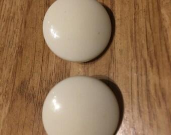 White clip on earrings