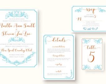 Full Wedding Suite | Martha | Miami Blue & Orange | DIY Printable