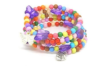 Memory bracelet multicolor Butterfly pattern violet Butterfly child