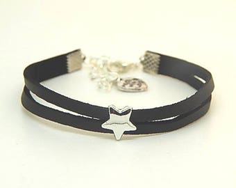 Faux black leather and Silver Star bracelet