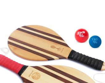 The Original Frescobol-Set by two46 | Premium Wooden Beach-Paddle-Set for Frescobol, Beachball & Beachtennis