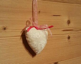 Cream heart shaped hanging decoration