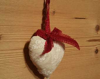 Beige and red heart shaped hanging decoration