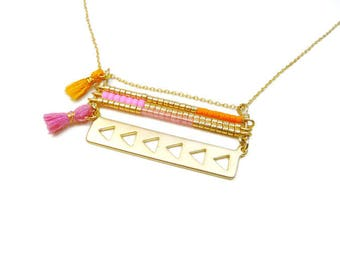 Thin Choker minimalist bar necklace gold in pink and orange