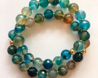 8mm faceted dark paradise blue agate beaded bracelet with 10k gold plated accents