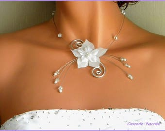 Jewelry Flower necklace janelle white Crystal bridal wedding Pearl Silver Aluminum
