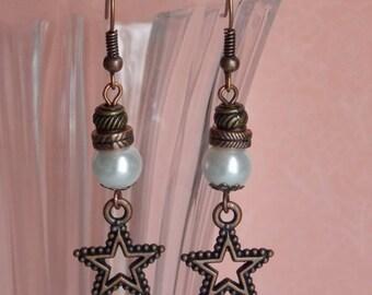 Earrings ❥ Stella star copper & off-white glass