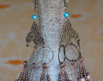 """""""Stardust"""" Turquoise, Bohemian Bronze earrings, green and gold"""