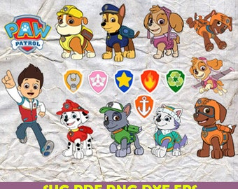 Paw Patrol Svg, Paw Patrol Clip art, Comic svg, Cartoon clipart png, cut files for silhouette, Paw patrol png, eps, Vector, dxf, Pdf, Png