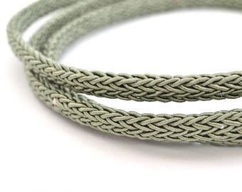Green oval braided polyester 4 string 50 cm x 7 mm