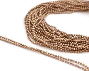 ball chain 50cm 1.2 mm metal Golden taupe beige