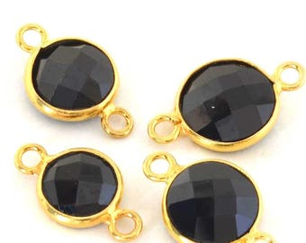 Between two faceted gemstone and Sterling Silver 925 - circular (8 / 9mm)-black and gold
