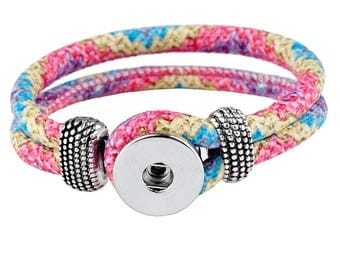 Bracelet / Eco leather Doublebeads Support. for 1 snap (M) - multicolored