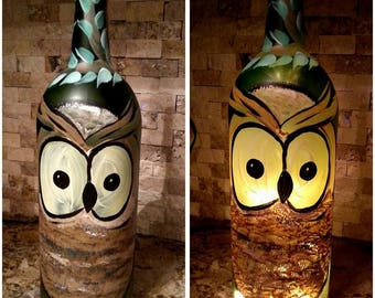Owl wine bottle light