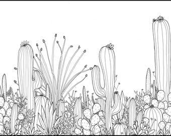 Printable Coloring Page | Desert Plants