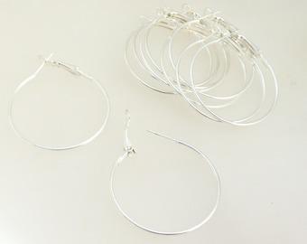 10 hoop earrings 35MM silver plated