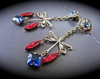 "Earrings ""Retro-Art Nouveau: dragonflies - medium"""