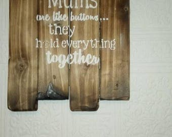 mums are like buttons plaque sign mum shabby chic wall art picture