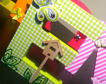 Name letters in papier mache 12 cm custom - themed critters
