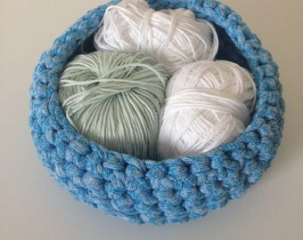 Basket, blue, violet and tidy