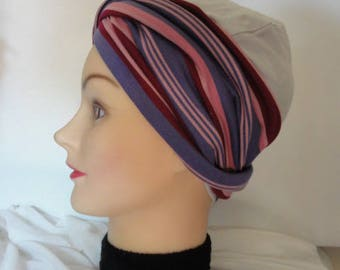 Twisted headband turban in jersey bayadere violet purple and pink