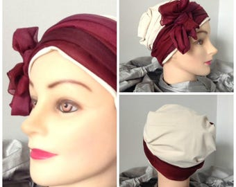 Turban Hat wedding special Burgundy veil and ivory jersey sand